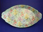 Large Shelley 'Melody' Chintz Scroll Handled Dish c1935